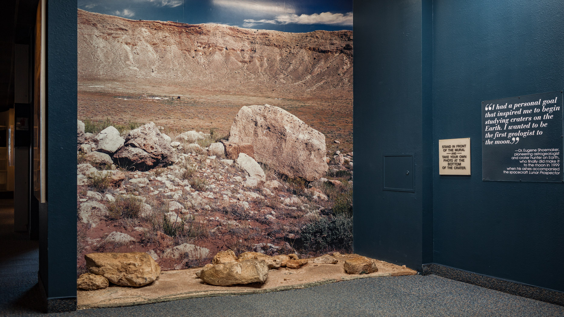 Simulacrum—Stand In Front of the Mural and Take Your Photo at the Bottom of the Crater,  Meteor Crater, Arizona